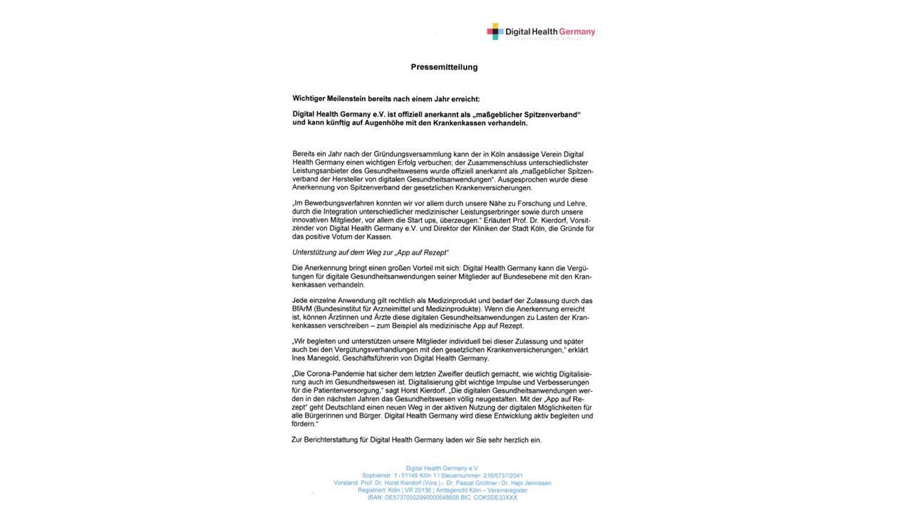 Pressemitteilung: Digital Health Germany (DHG)