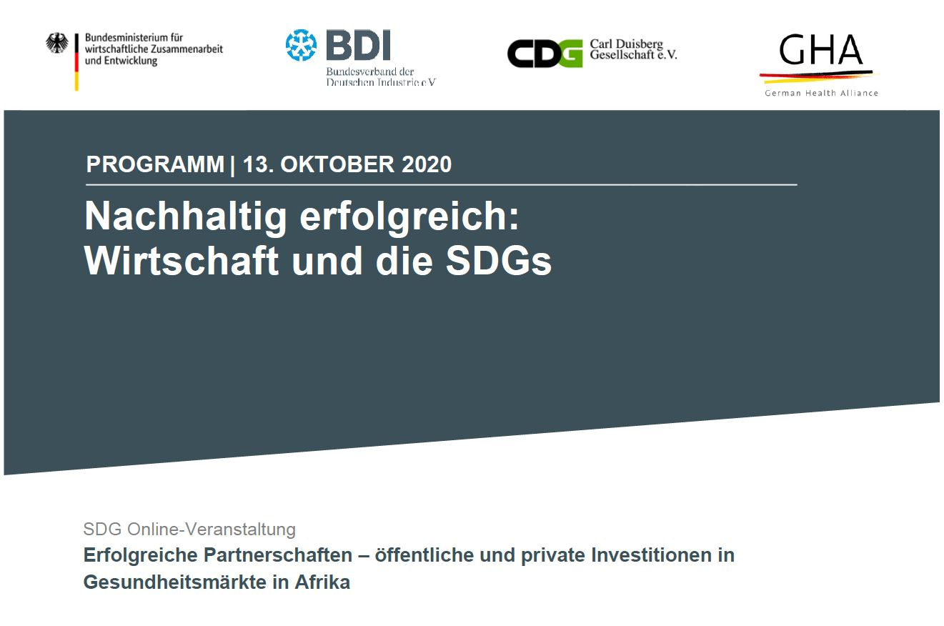 """You are currently viewing SDG Online-Veranstaltung """"Erfolgreiche Partnerschaften – öffentliche und private Investitionen in Gesundheitsmärkte in Afrika"""""""