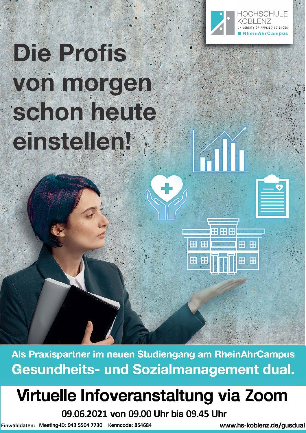 """You are currently viewing Virtuelle Infoveranstaltung zum dualen Studiengang """"Gesundheits- und Sozialmanagement"""" am 09.06.,RheinAhrCampus"""